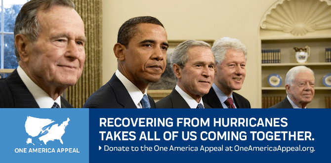 Former US Presidents Join Together To Launch 'One America Appeal' To Help Hurricane Victims